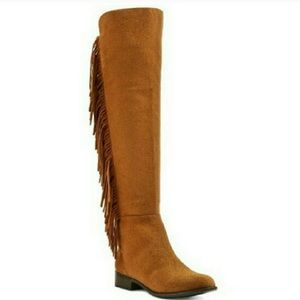 Over The Knee Suede Fringe Boots